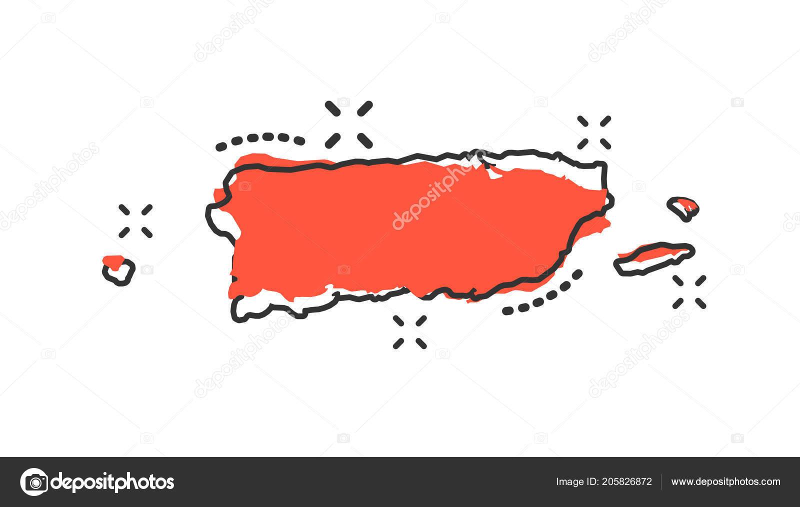 Vector Cartoon Puerto Rico Kartensymbol Comic Stil Puerto ...