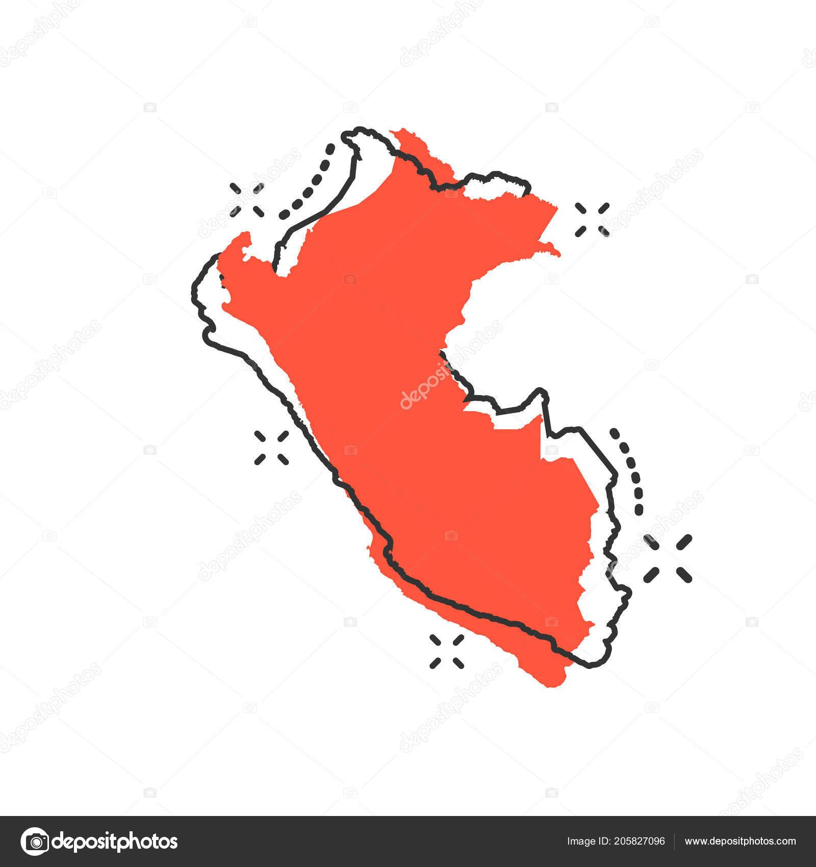 Vector Cartoon Peru Kartensymbol Comic Stil Peru Zeichen Darstellung ...