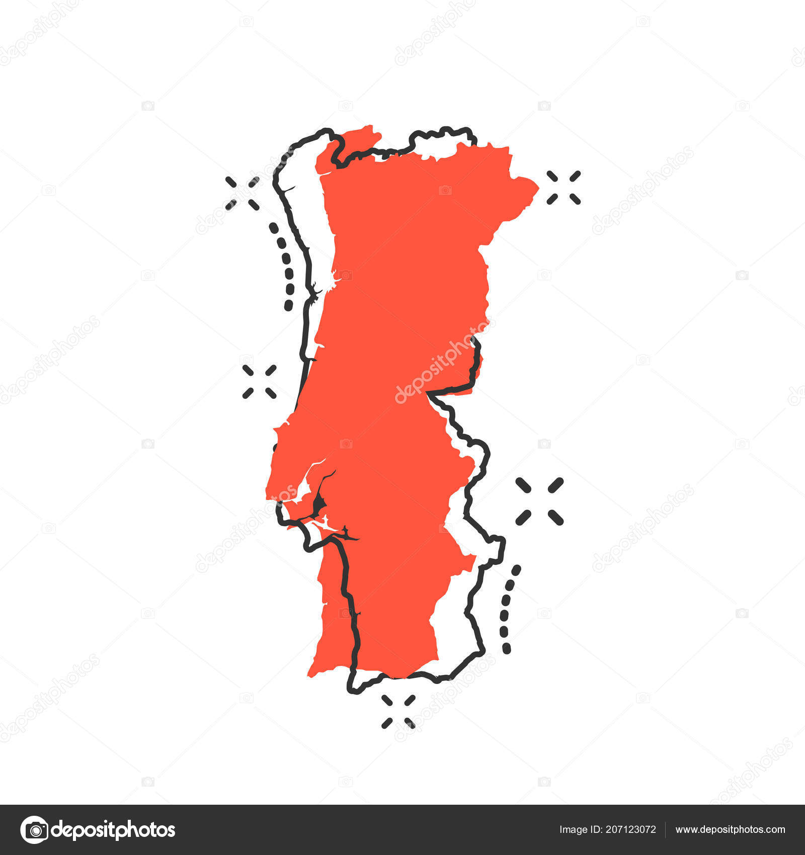 Vector Cartoon Portugal Map Icon Comic Style Portugal Sign