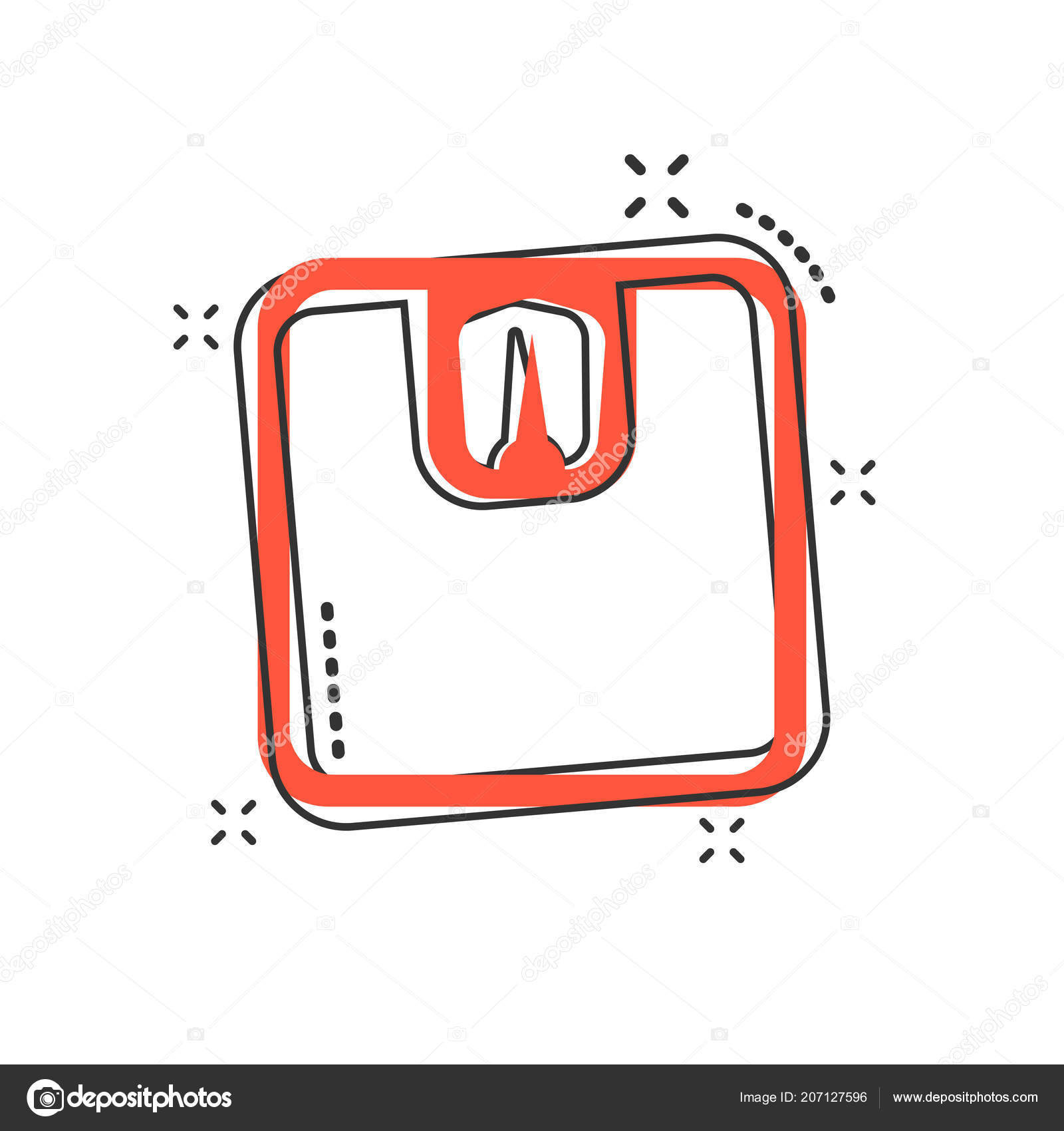 Vektor Cartoon Badezimmer Waage Waage Icon Comic Stil Weigher