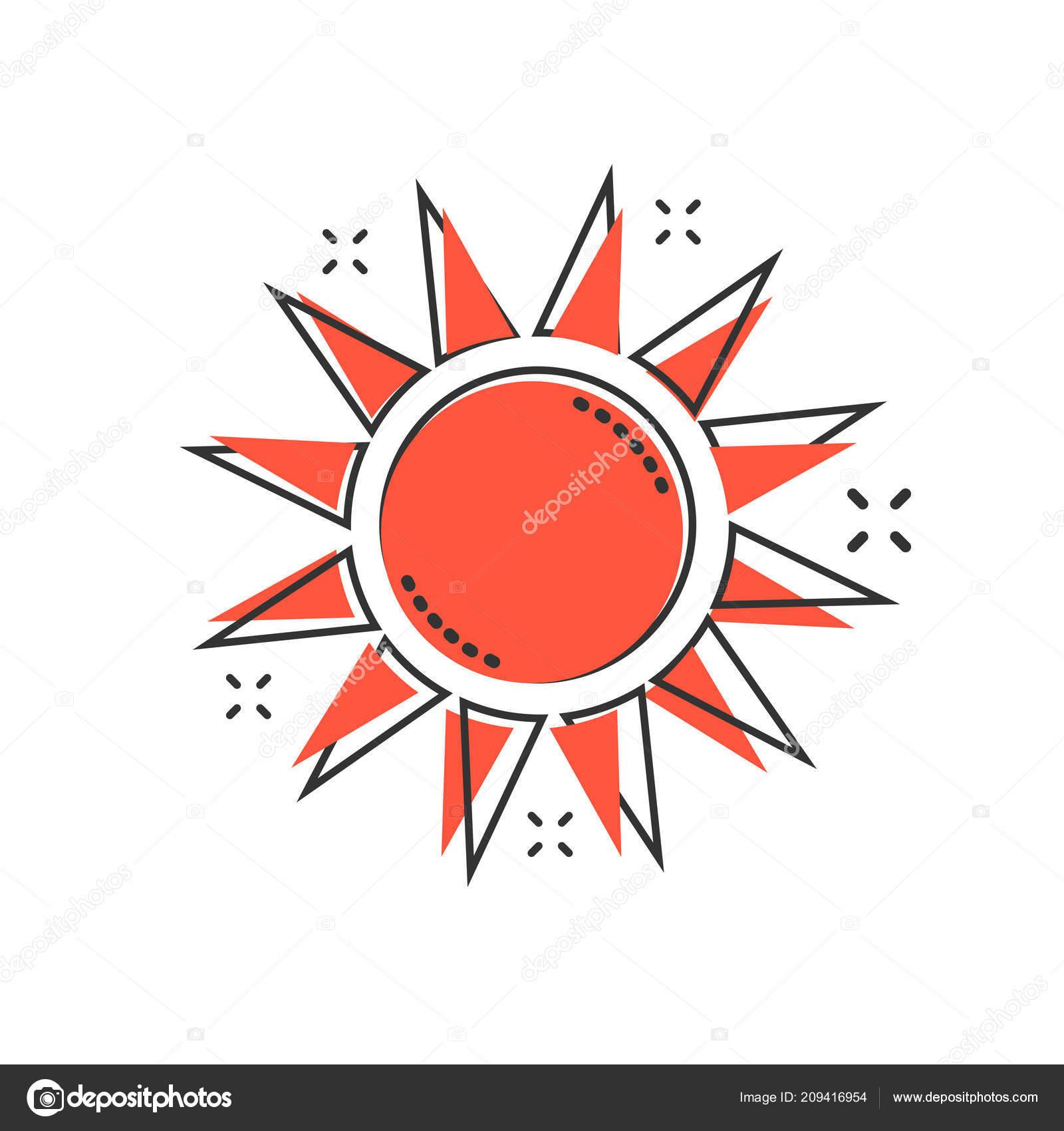 Vektor Kreslene Ikona Slunce Komicke Stylu Letni Slunicko Koncept
