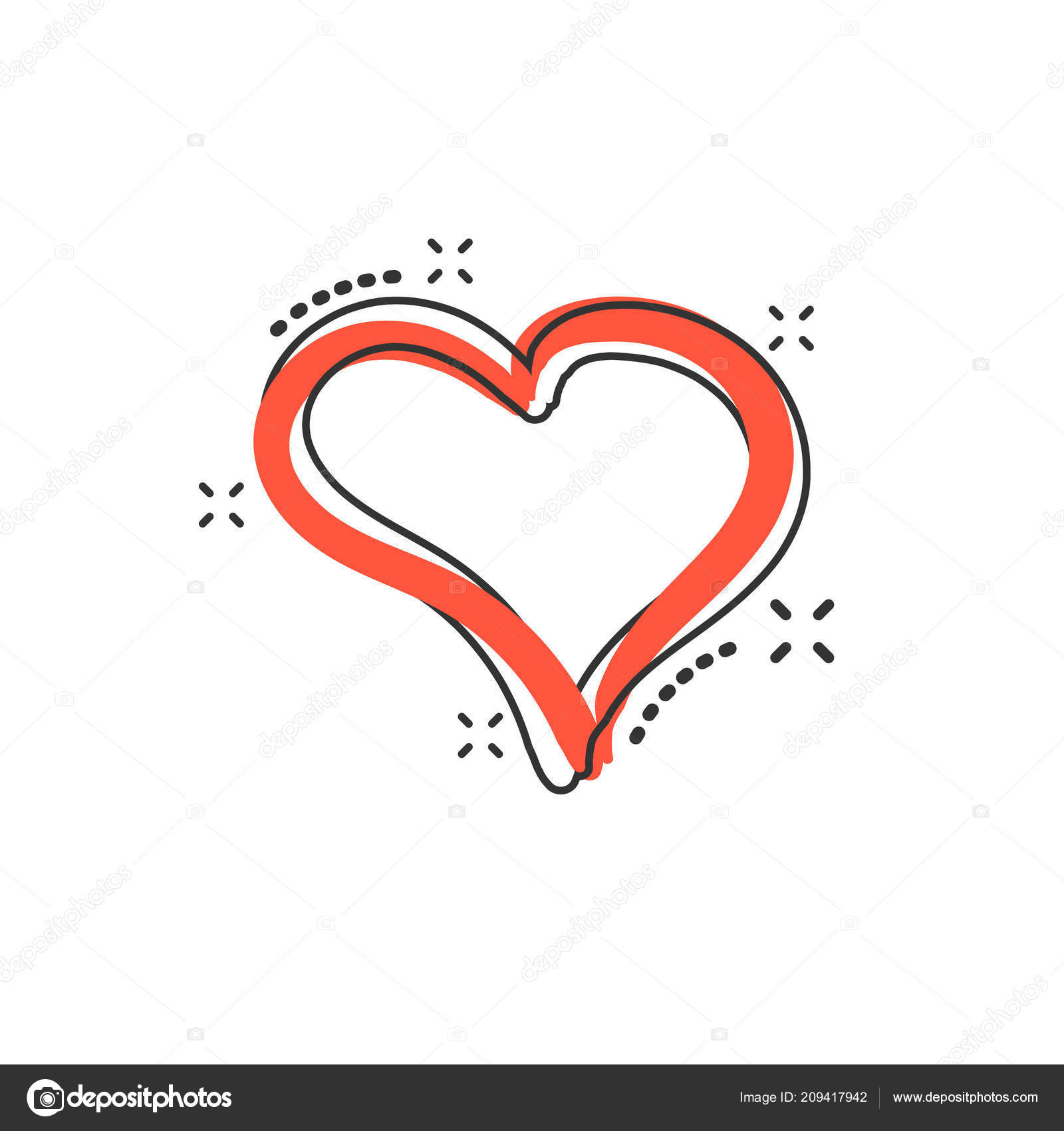 Vektor Kreslene Rukou Nakreslene Srdce Ikony Komicke Stylu Laska