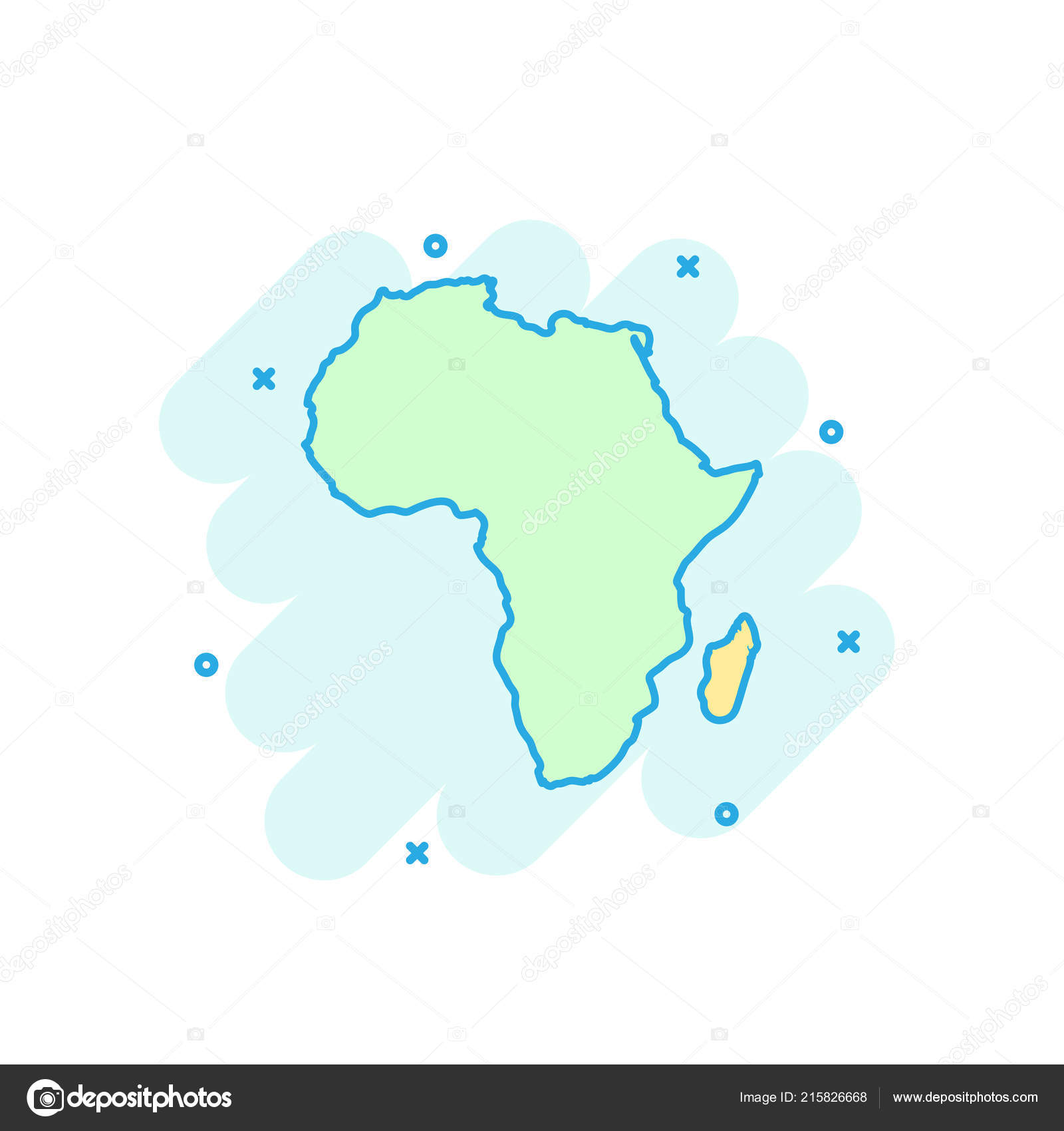 Cartoon Colored Africa Map Icon Comic Style Africa Sign Illustration
