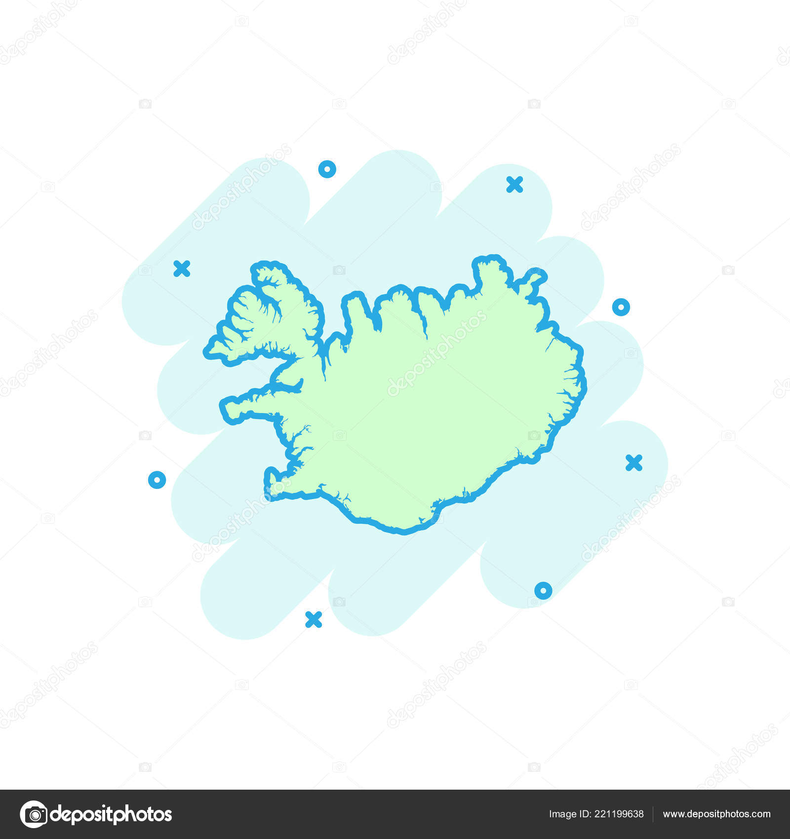 Vector Cartoon Iceland Map Icon Comic Style Iceland Sign ...
