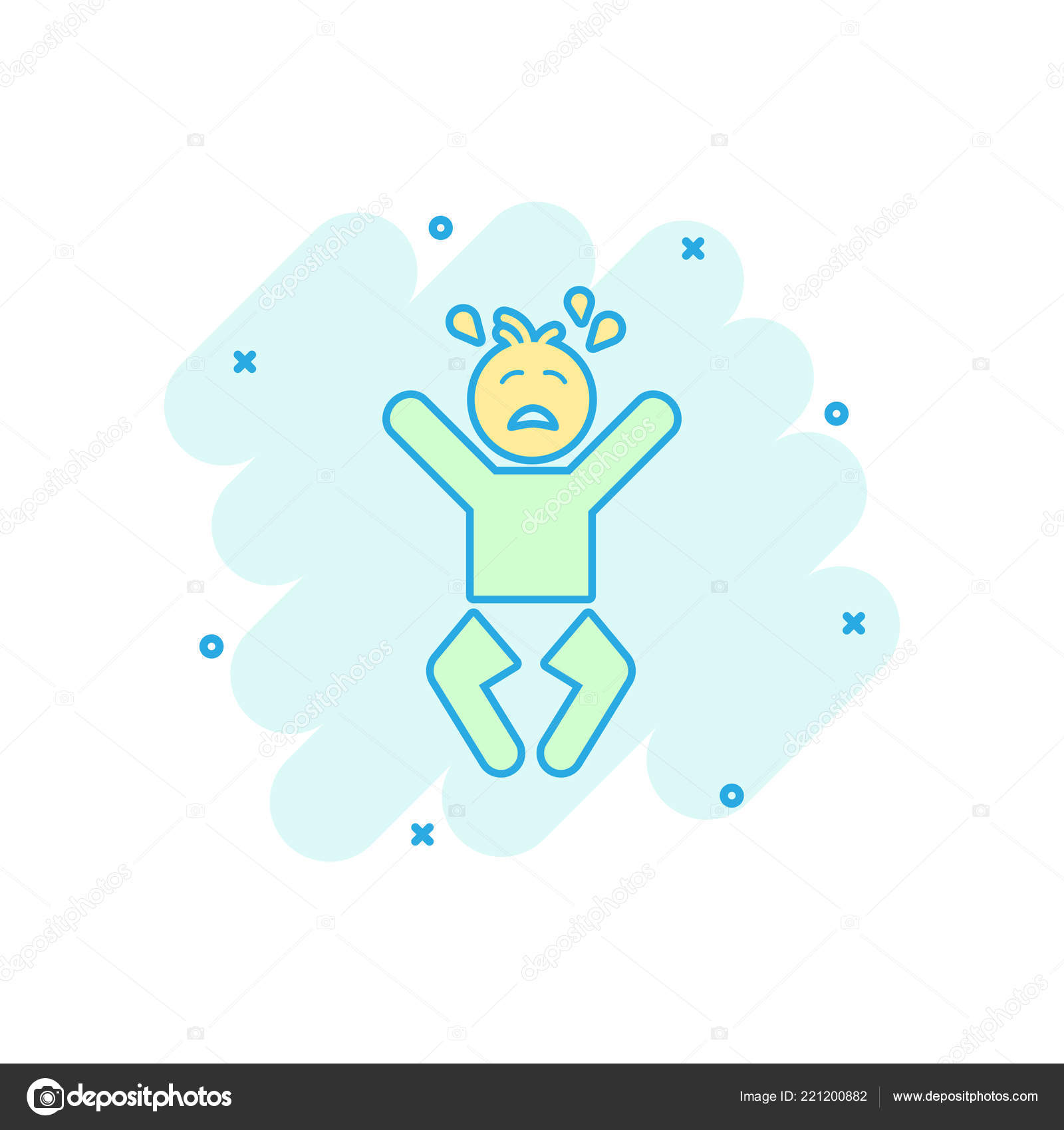Vector Cartoon Crying Baby Icon Comic Style Anger Emotions Child