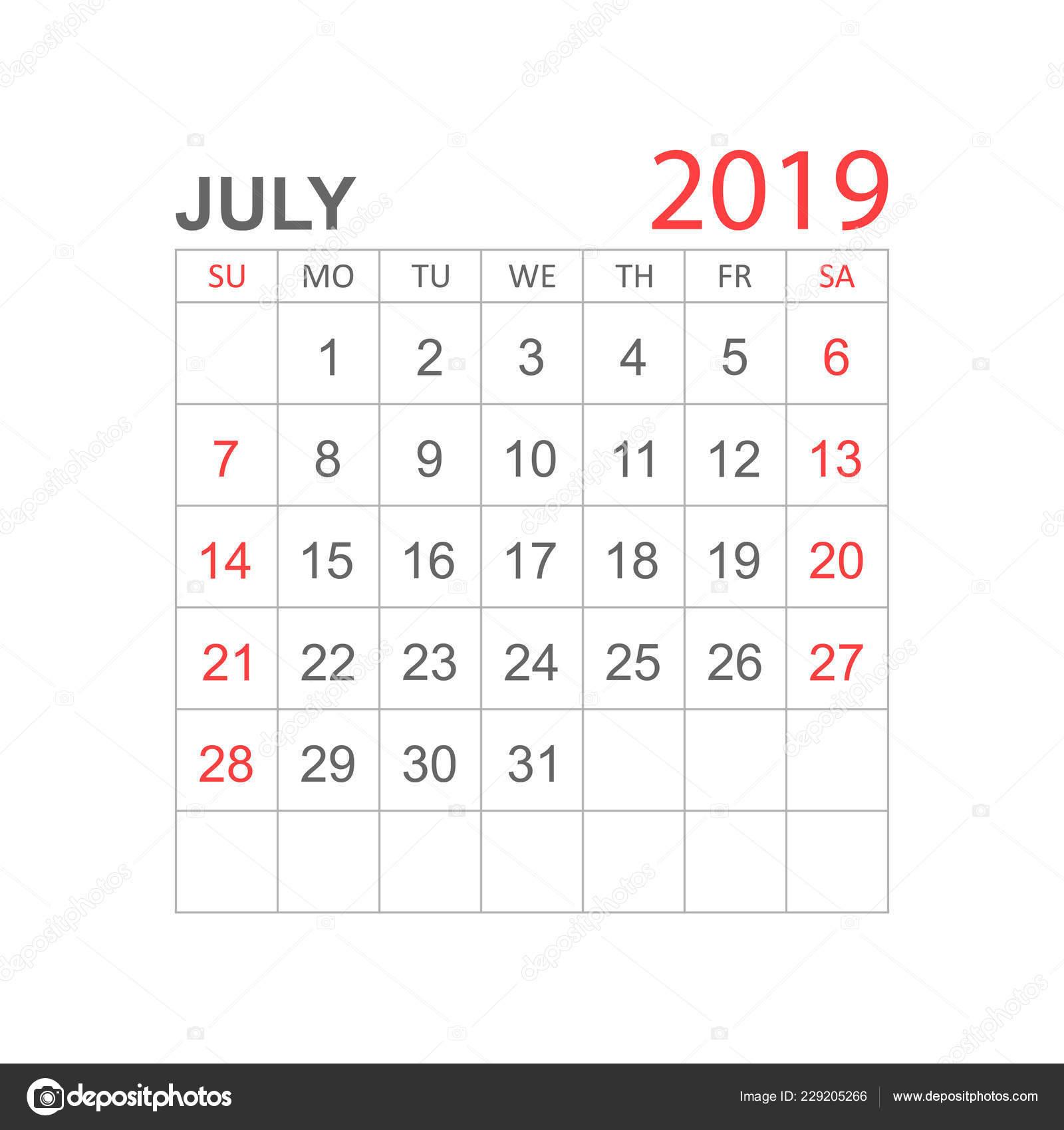 Calendario 31 Luglio 2019.Calendario Luglio 2019 Anno Stile Semplice Modello Disegno