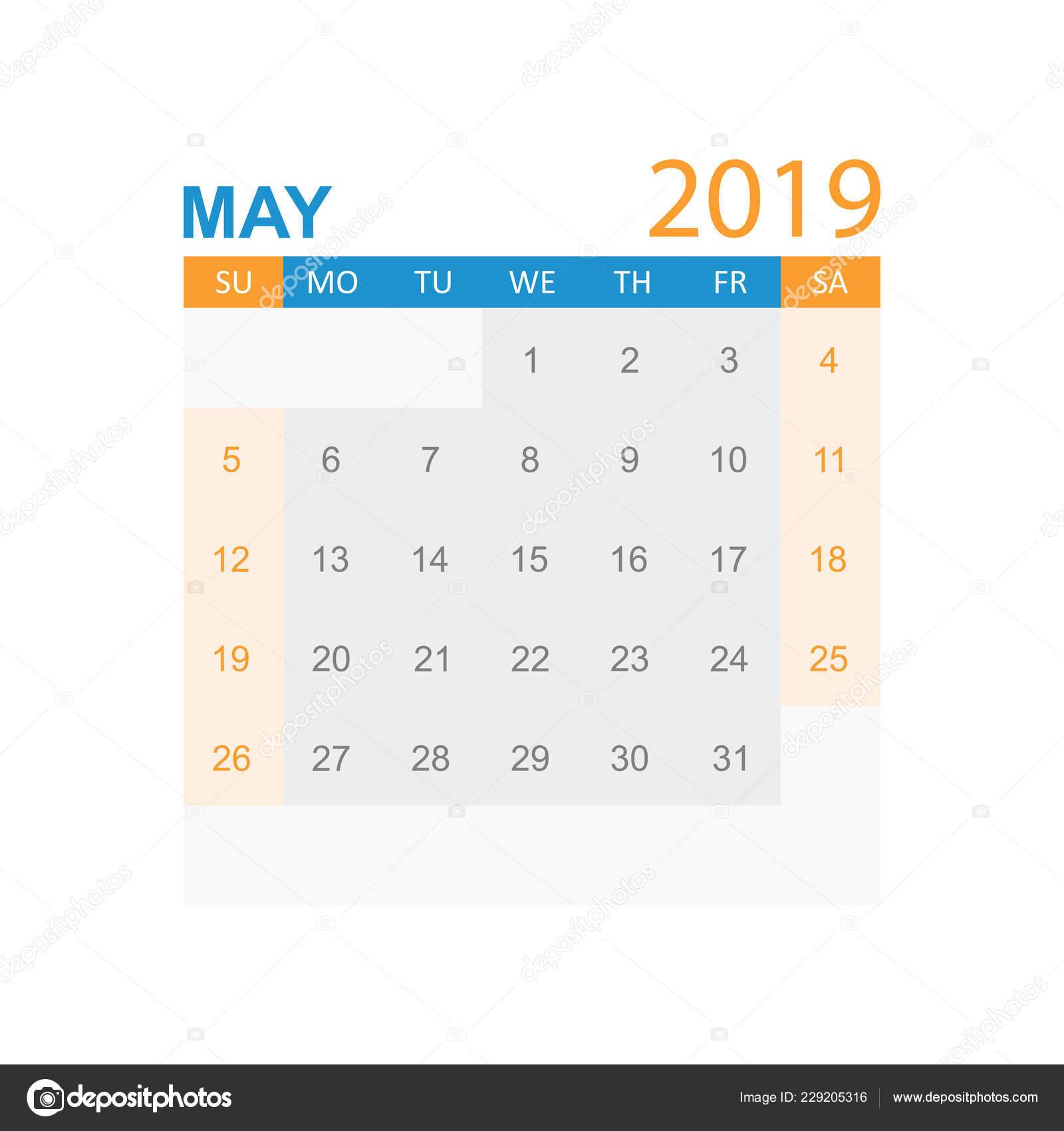 Calendrier Mai2019.Calendrier Mai 2019 Annee Dans Style Simple Modele