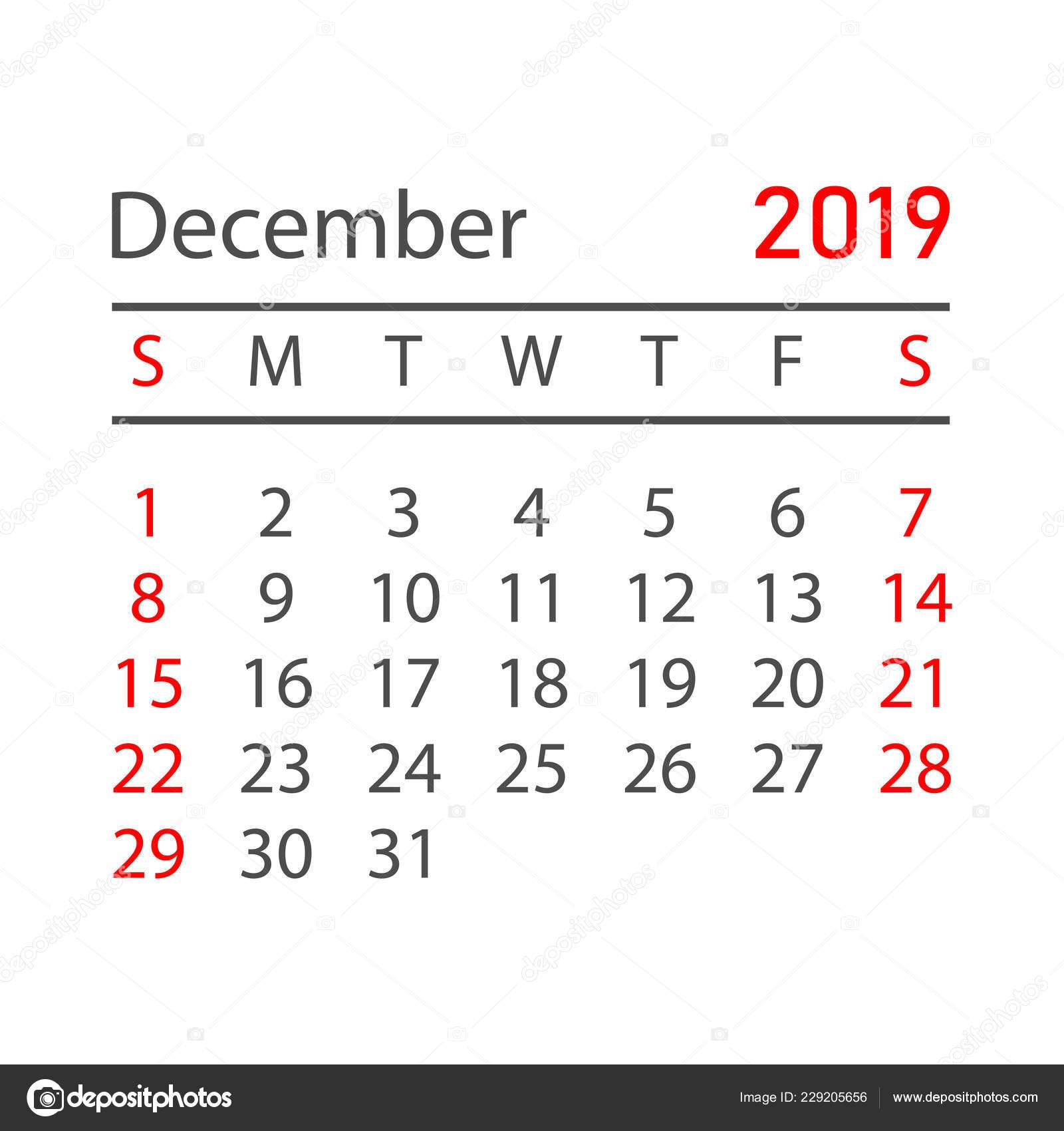 Calendrier Mensuel Decembre 2019.Calendrier Decembre 2019 Annee Dans Style Simple Modele