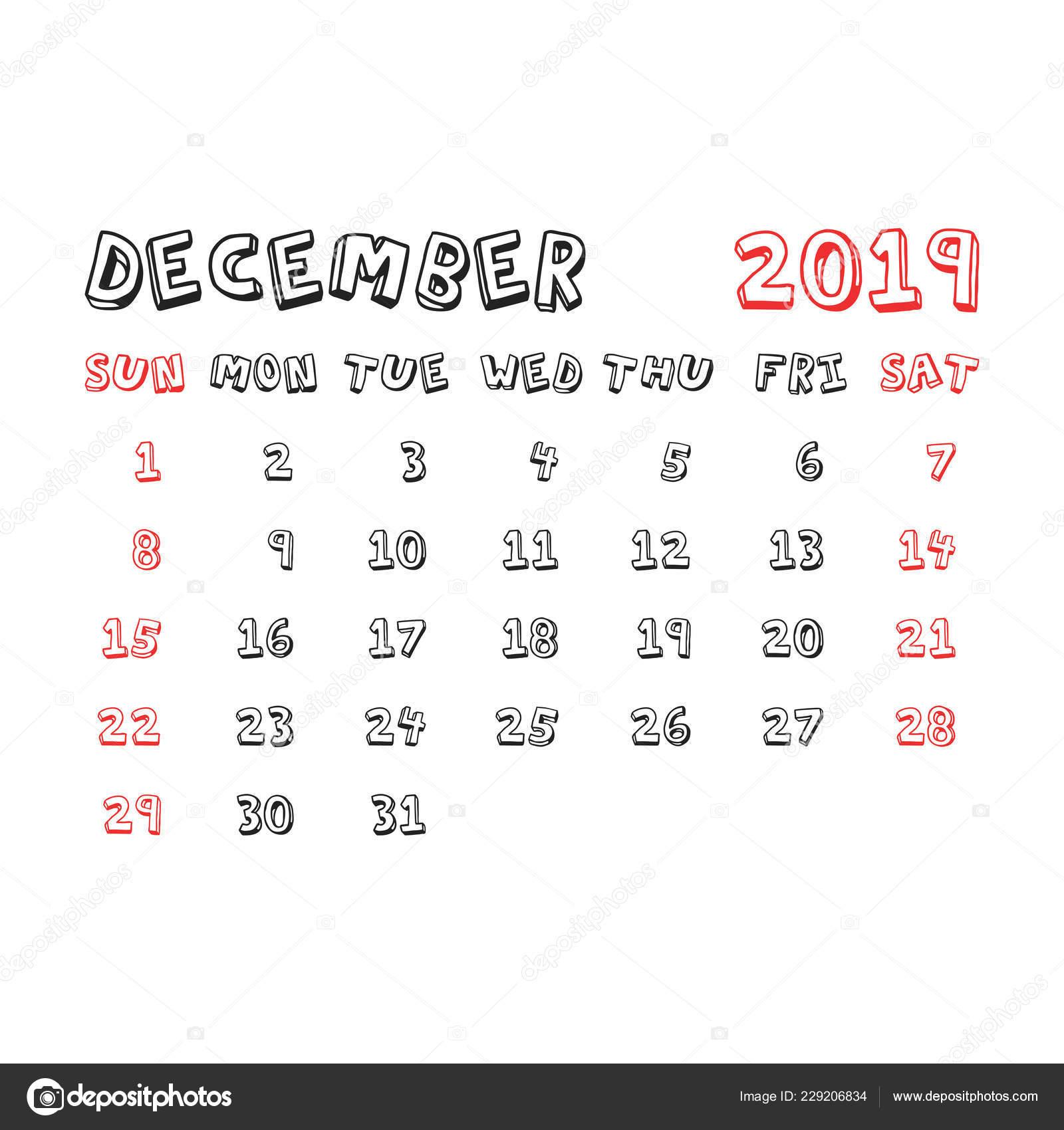 Calendrier Mensuel Decembre 2019.Calendrier Decembre 2019 Annee Dans Style Dessin Anime