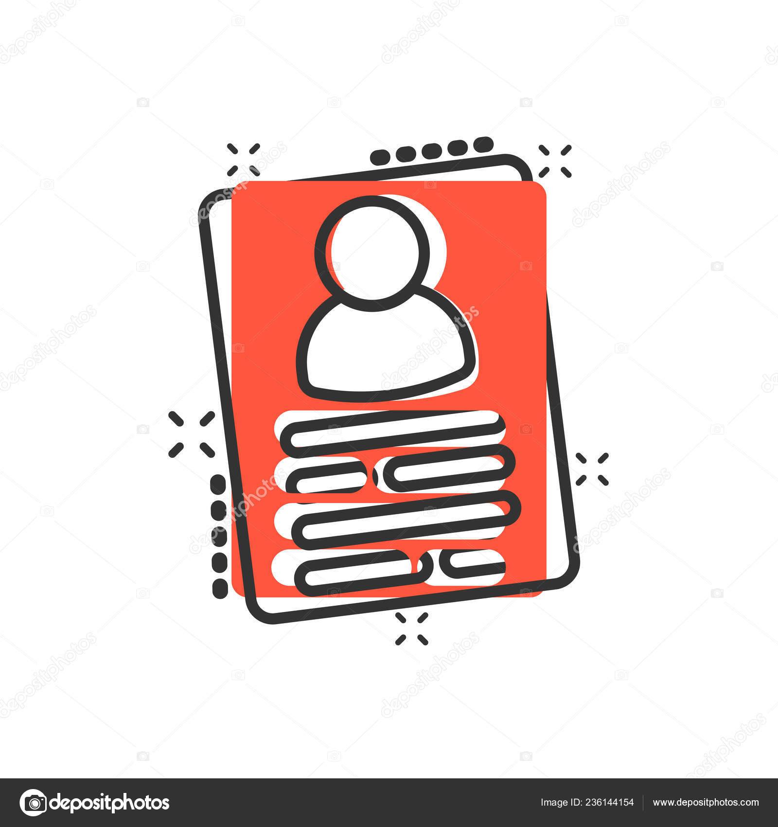 Resume Icon Comic Style Contract Document Vector Cartoon