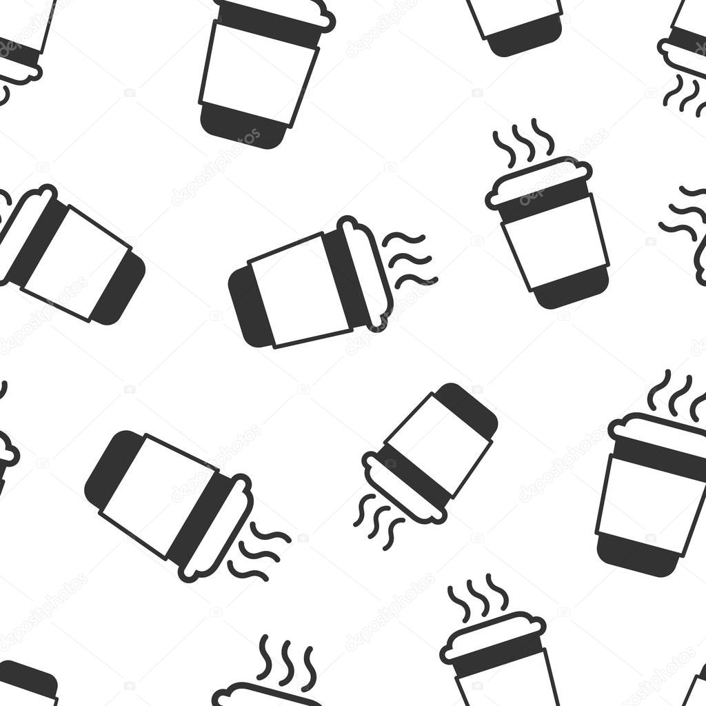 Coffee, tea cup icon seamless pattern background. Coffee mug vector illustration. Drink symbol pattern.