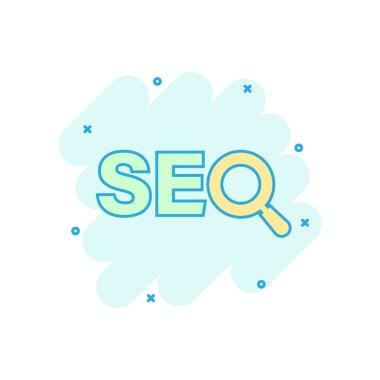 Seo analytics icon in comic style. Social media vector cartoon i