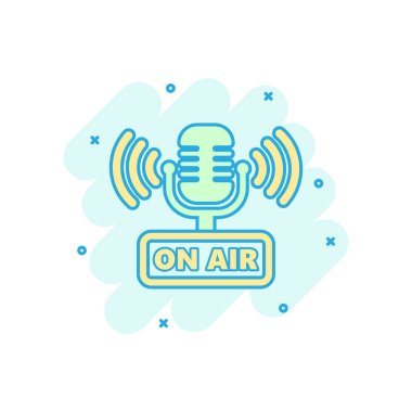 Microphone icon in comic style. Live broadcast vector cartoon il