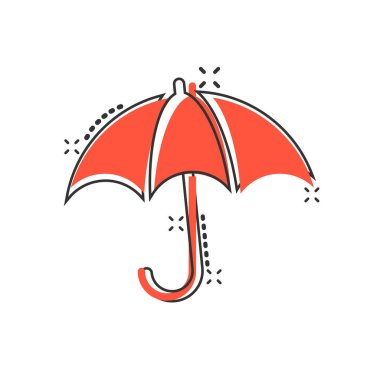 Umbrella icon in comic style. Parasol vector cartoon illustratio