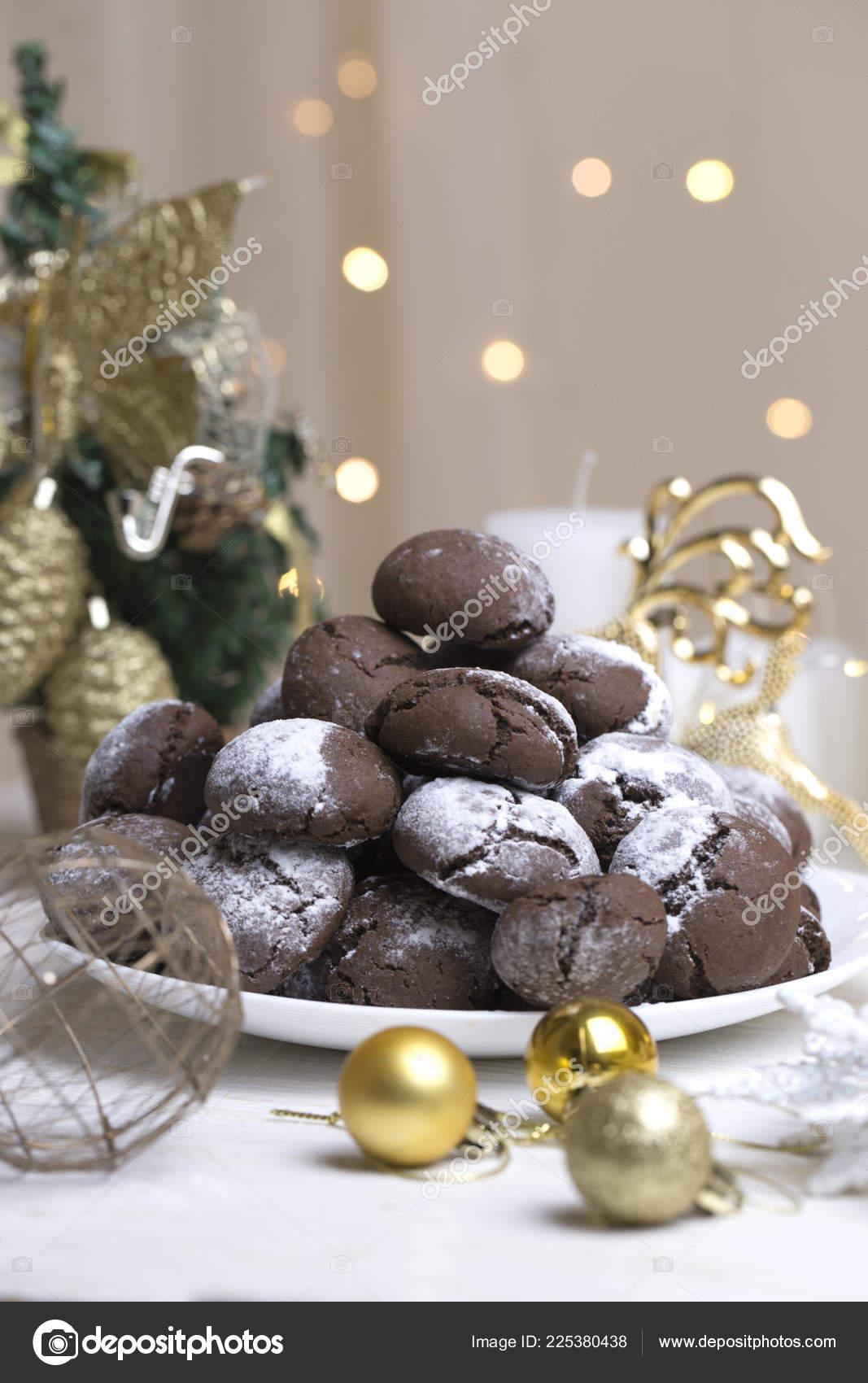 Chocolate Brownie Cookies Powdered Sugar Chocolate Cookies Christmas