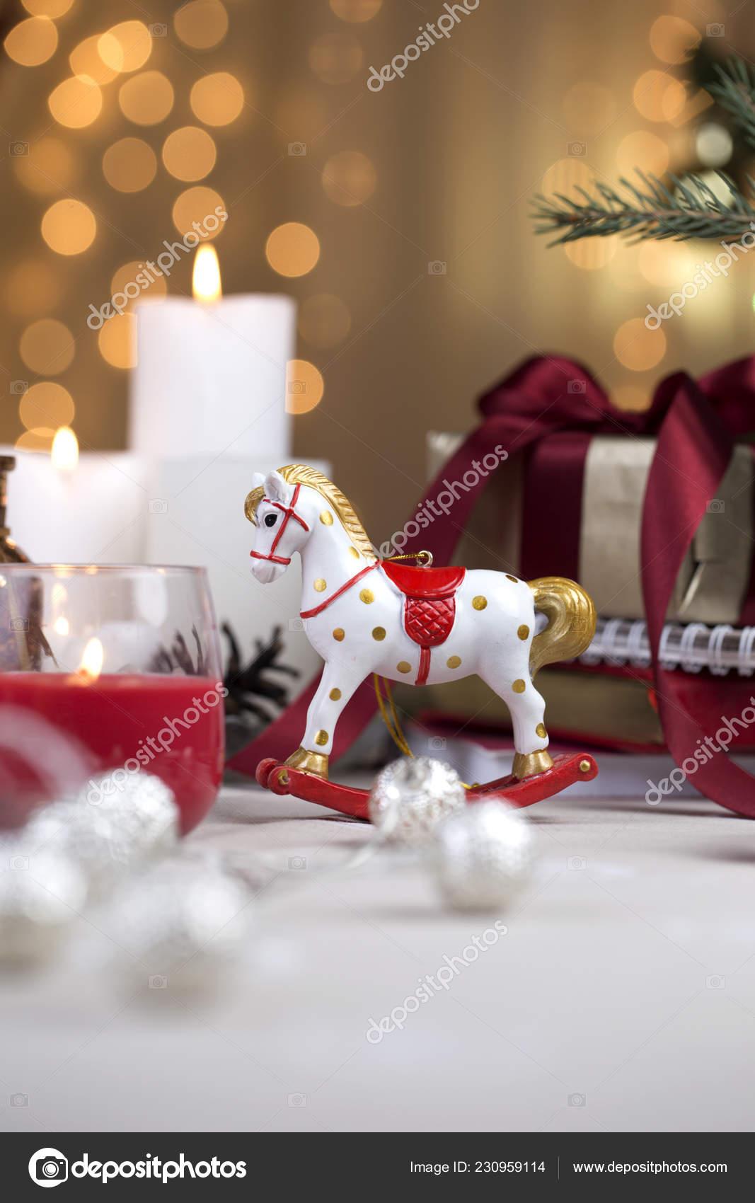 Christmas Rocking Horse Wooden Horse Christmas Decoration Background Greeting Card Stock Photo C Kate Ovcharenko 230959114