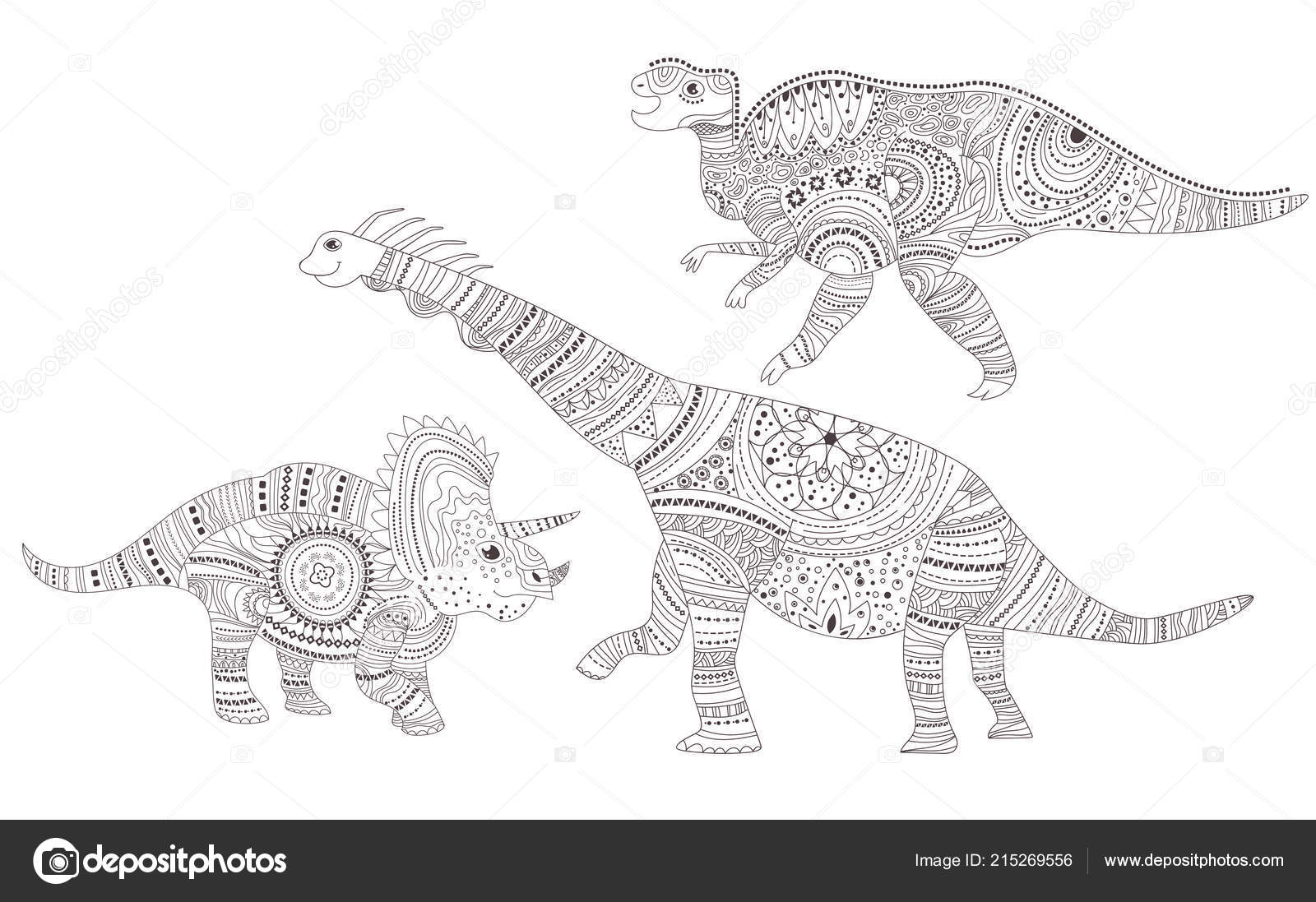 Dinosaurs Coloring Page Vector Cartoon Isolated Art Stock
