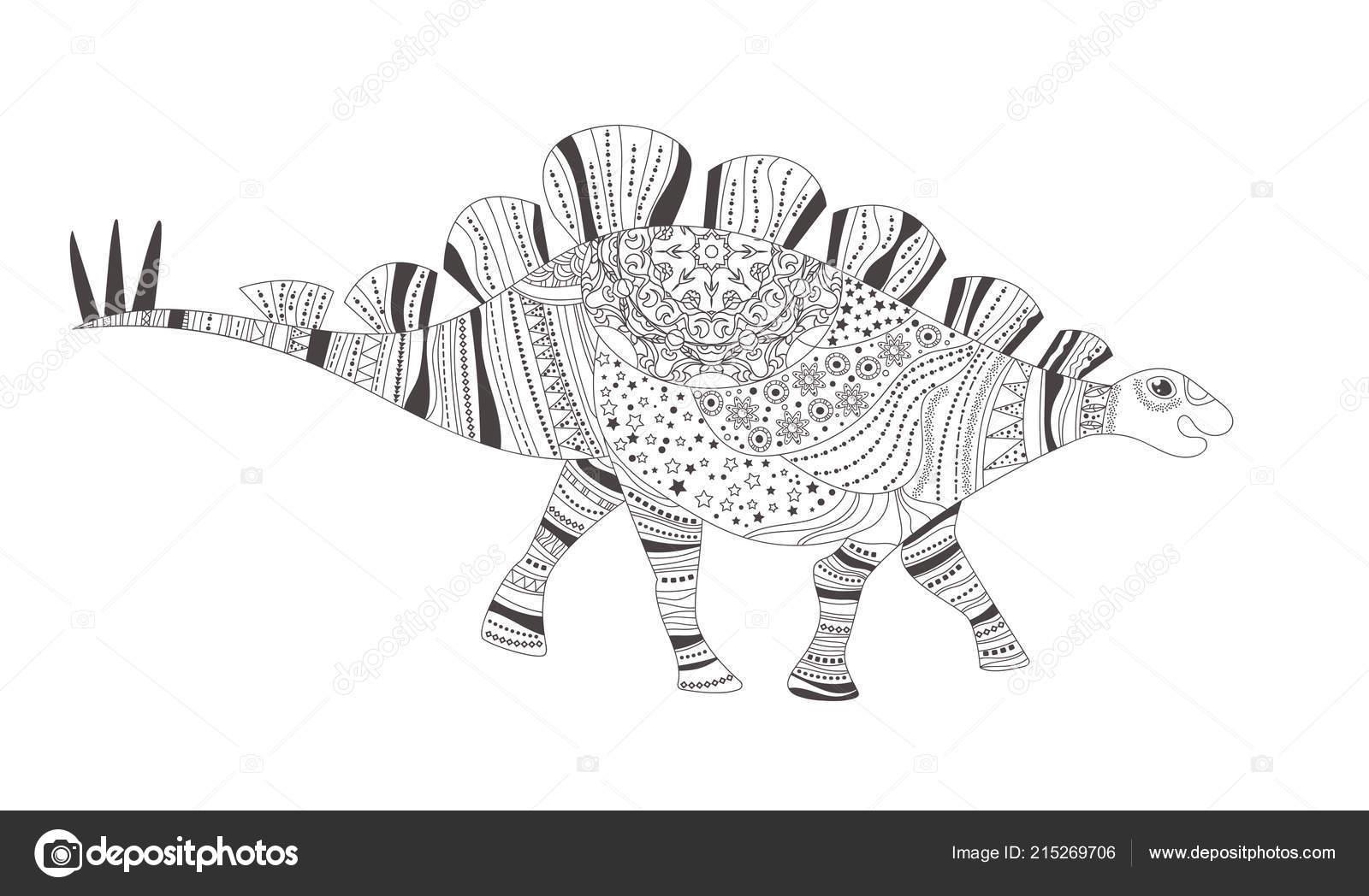 Dinozor Boyama Sayfası Vektör çizgi Film Beyaz Izole Sanat