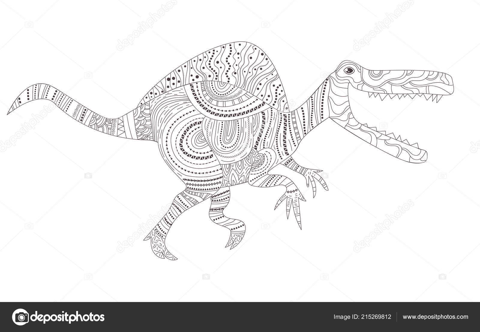 Coloriage Dinosaure Adulte.Dinosaure Coloriage Pour Enfants Et Adultes Vecteur Dessin Anime