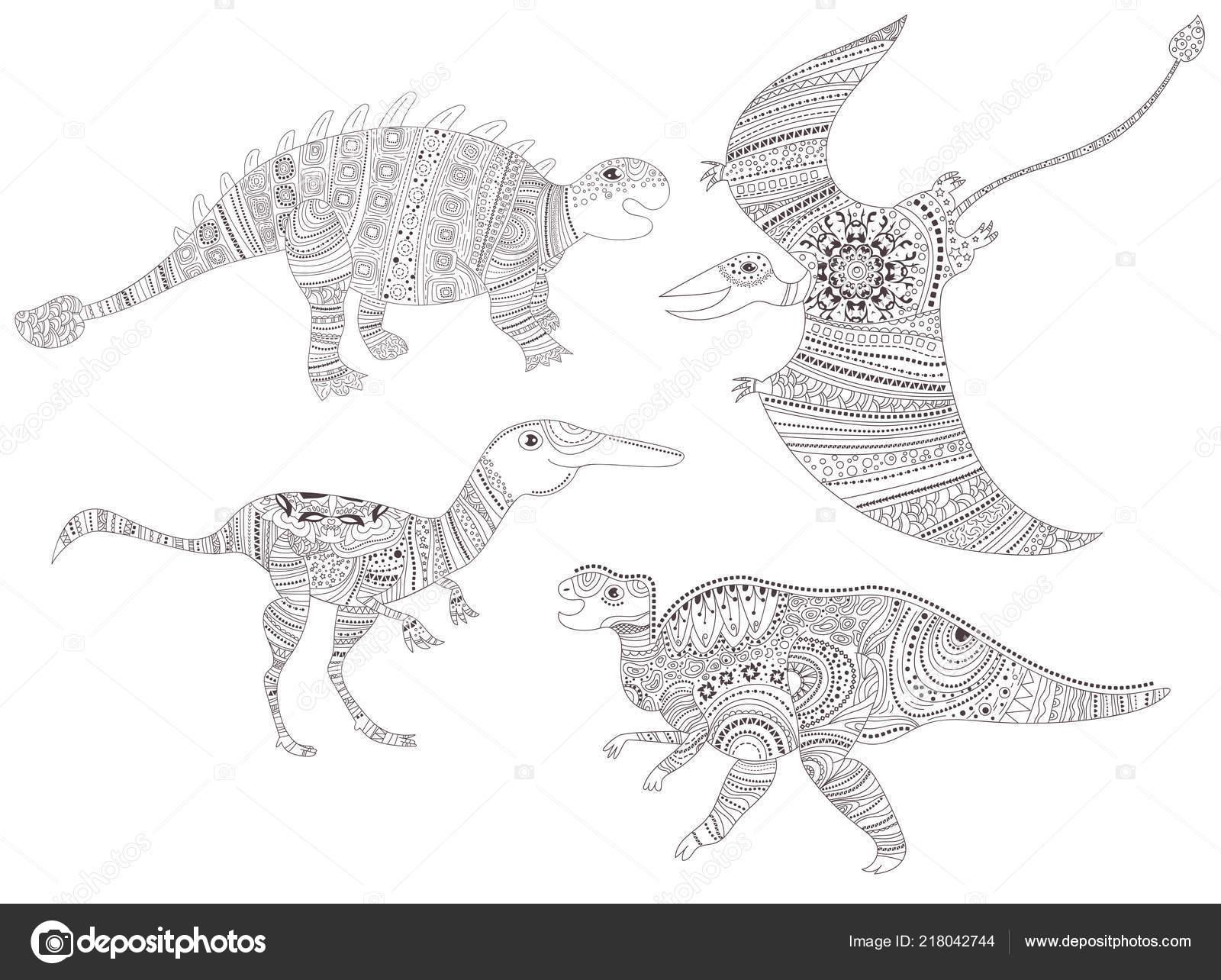 Dinosauro Pagina Da Colorare Per Bambini E Adulti Vettoriale