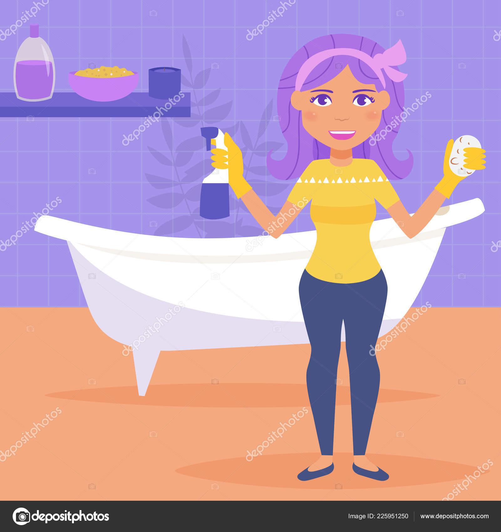 Ama De Casa De Lava Un Baño Vector Dibujos Animados Plana Mujer