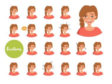 Woman with different emotions. Joy, sadness, anger, talking, funny, fear, smile Set Isolated illustration on white background Vector Cartoon Flat stock vector