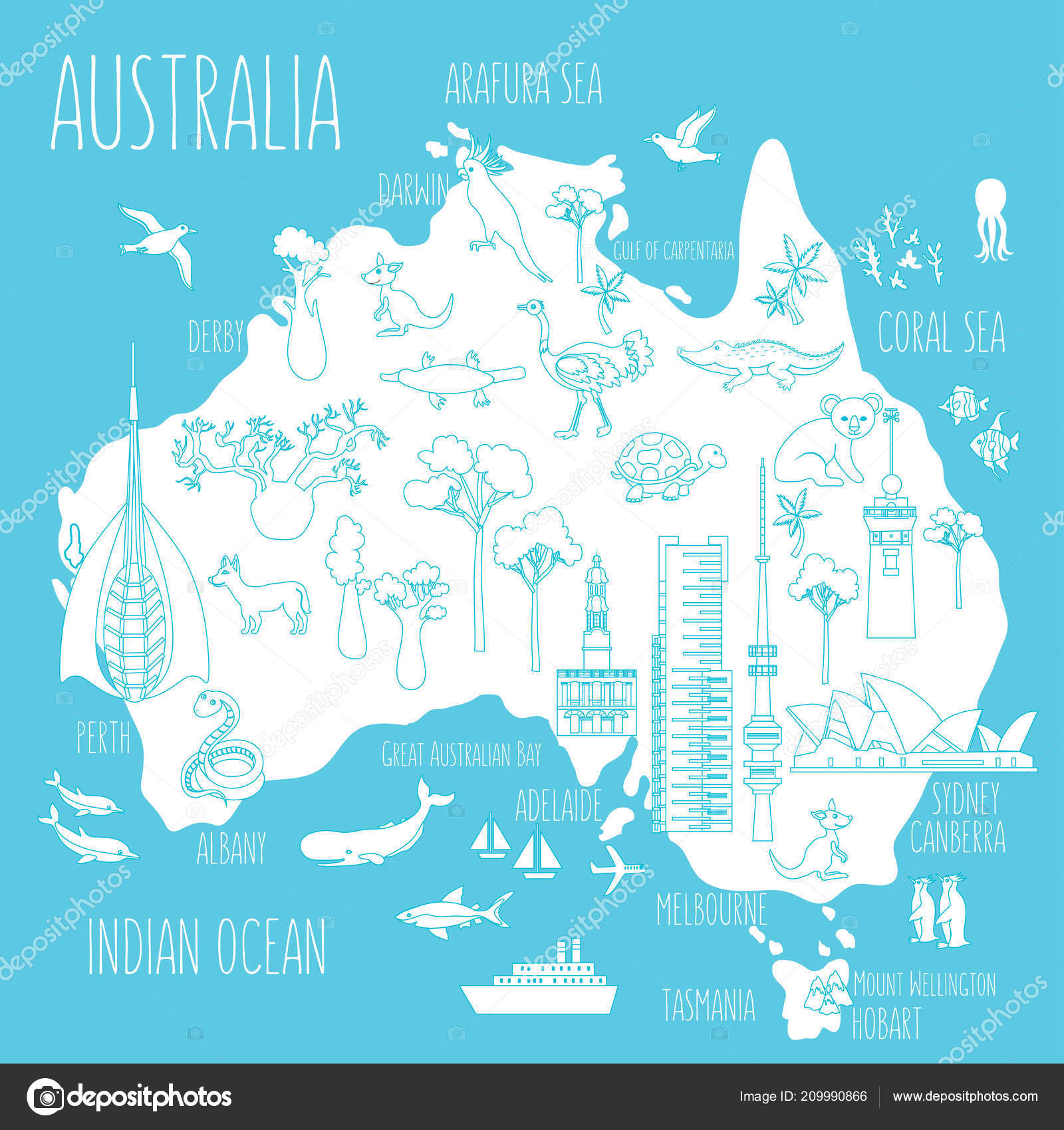 Brisbane Map Australia.Australia Cartoon Travel Map Vector Illustration Landmark Telstra
