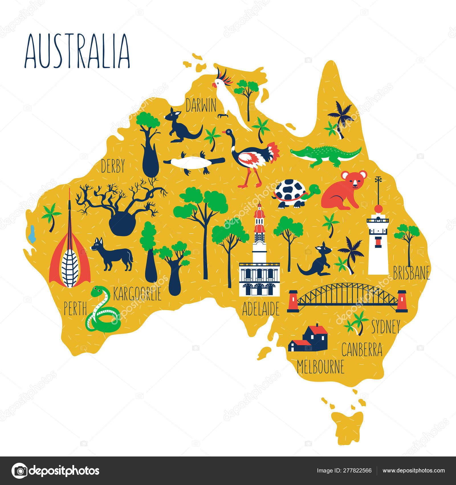 Australia cartoon travel map vector illustration, landmark ...