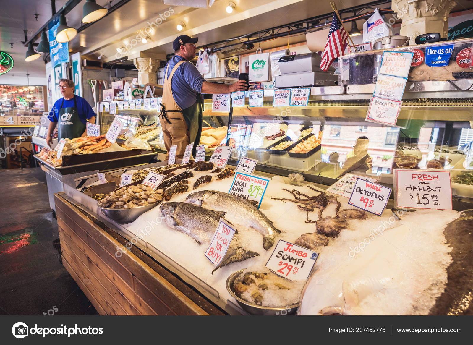Seattle Washington Usa July 2018 Various Seafood Offered Sale Pike