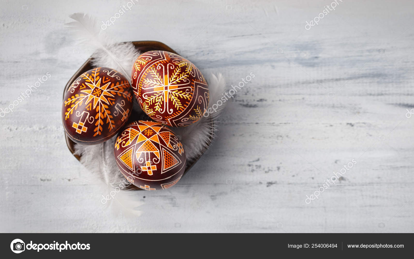 Easter Eggs Decorated With Wax Resist Technique Stock Photo