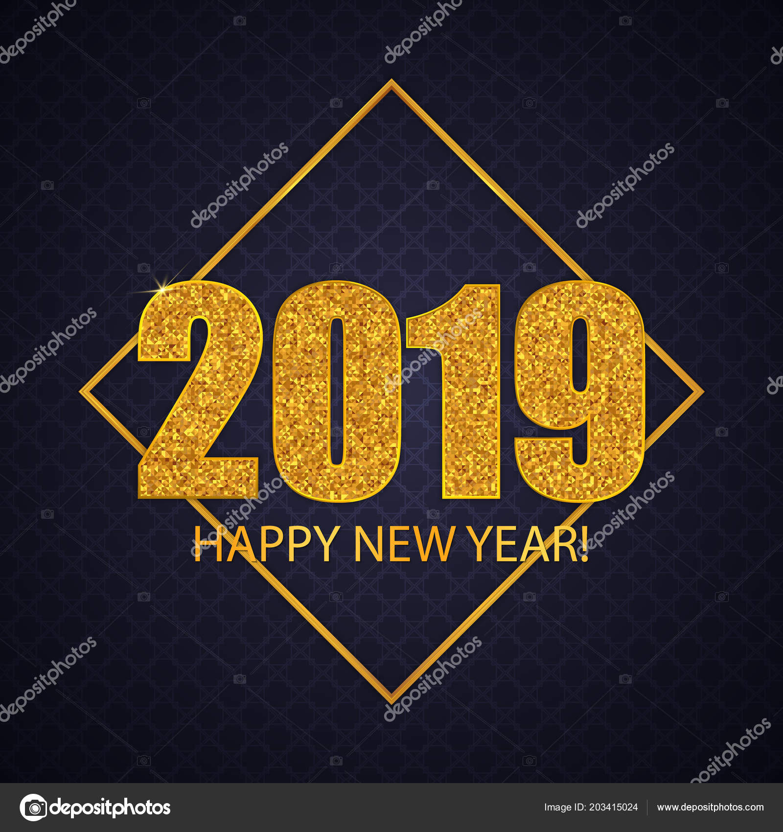 2019 happy new year greeting card design gold glitter numbers stock vector