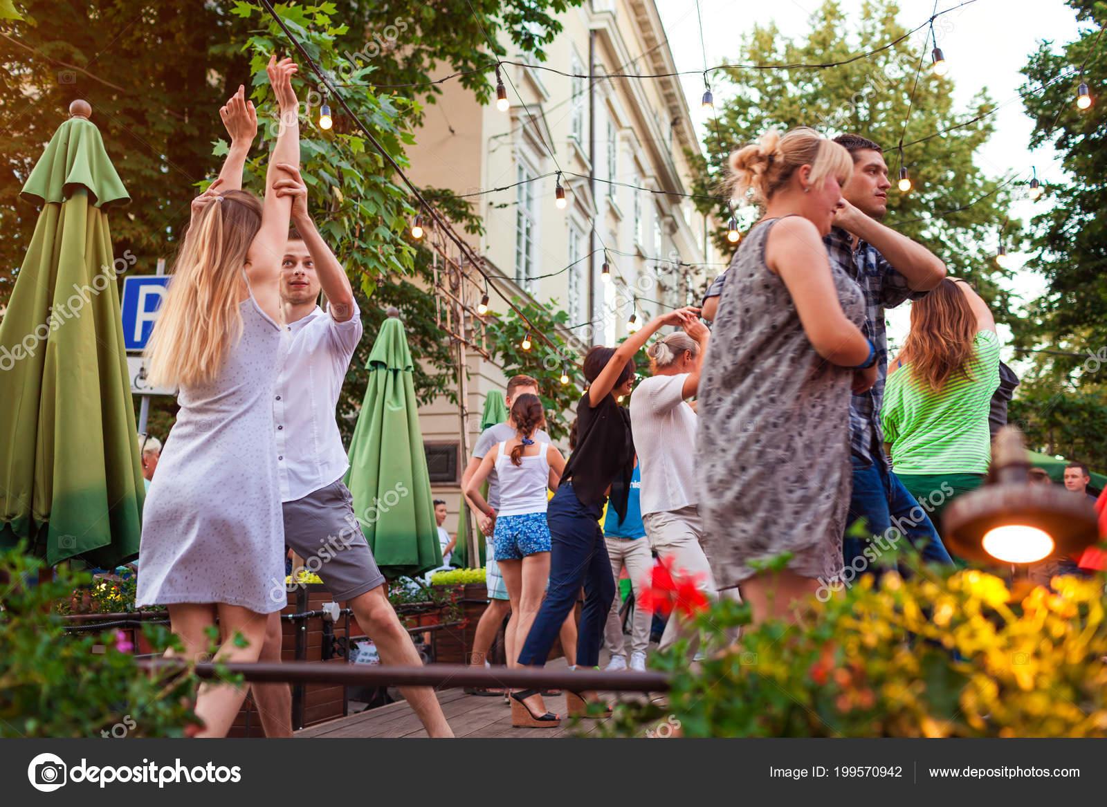 Lviv Ukraine June 2018 People Dancing Salsa Bachata Outdoor