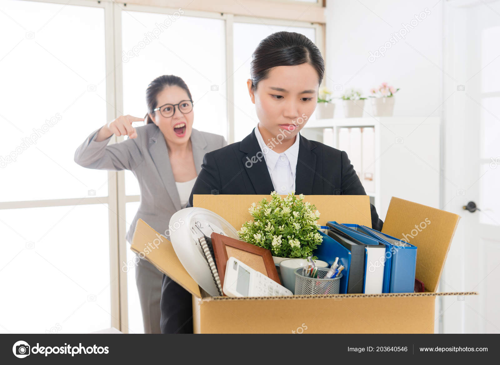Asian Employee Scolded Mean Boss Shouted Yelled Failure Employee