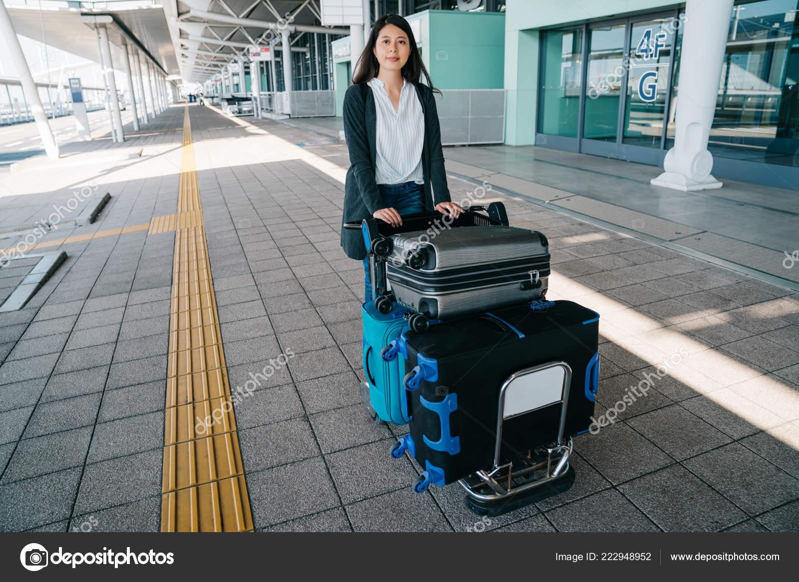 Asian Woman Traveler Rolling Luggage Trolley Osaka Airport