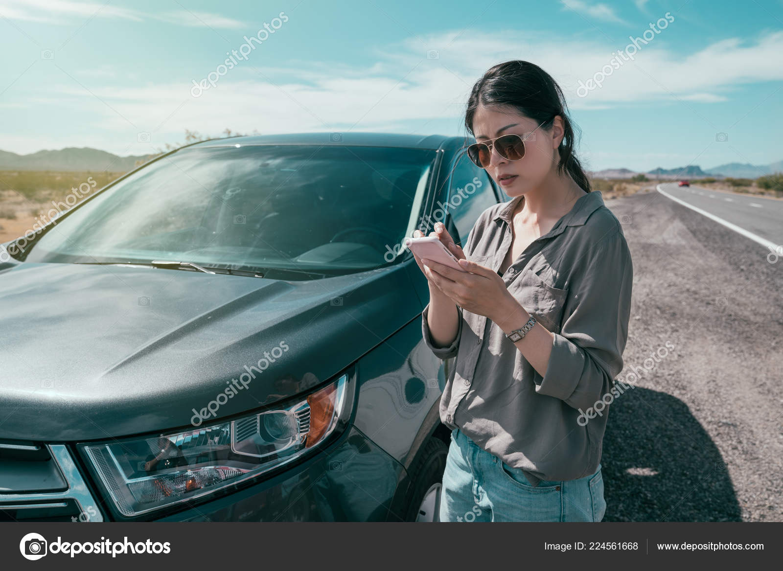 Car Sharing Rideshare Mobile Phone App Young Asian Woman Using Stock Editorial Photo C Primagefactory 224561668
