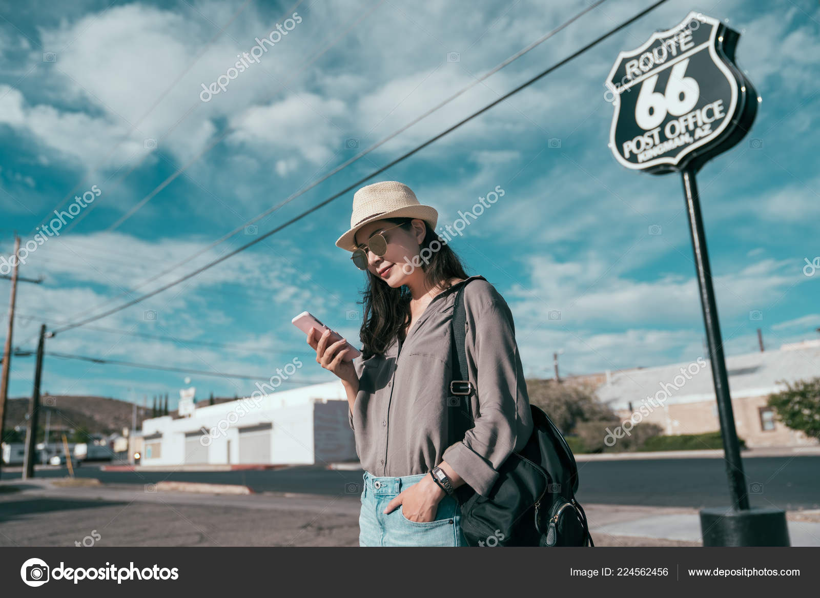 Beautiful Happy Teenage Girl Standing Route Background Sunny