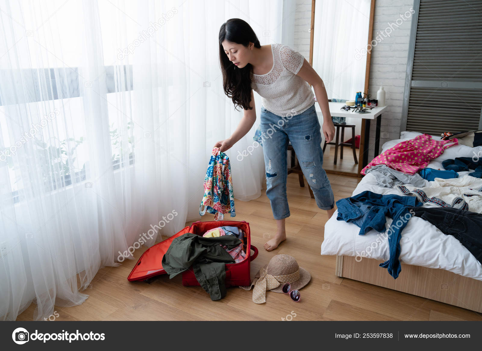 Young girl standing bedroom mirror in back — Stock Photo ...