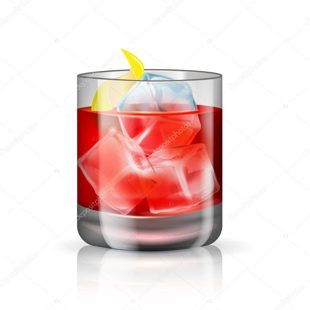 Old-fashioned cocktail isolated on the white background. Vector illustration of the hard beverage.