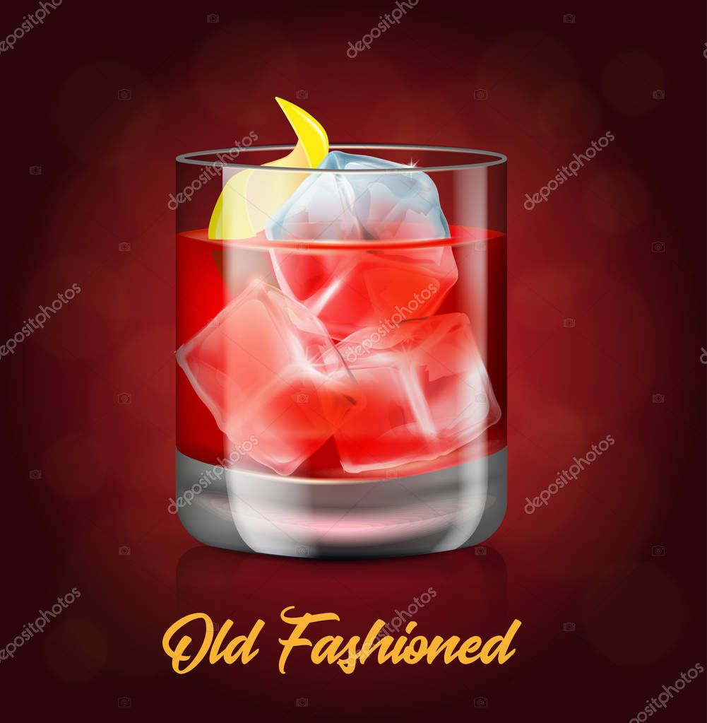 The glass of old-fashioned cocktail on the red background.Vector illustration of an alcoholic drink.