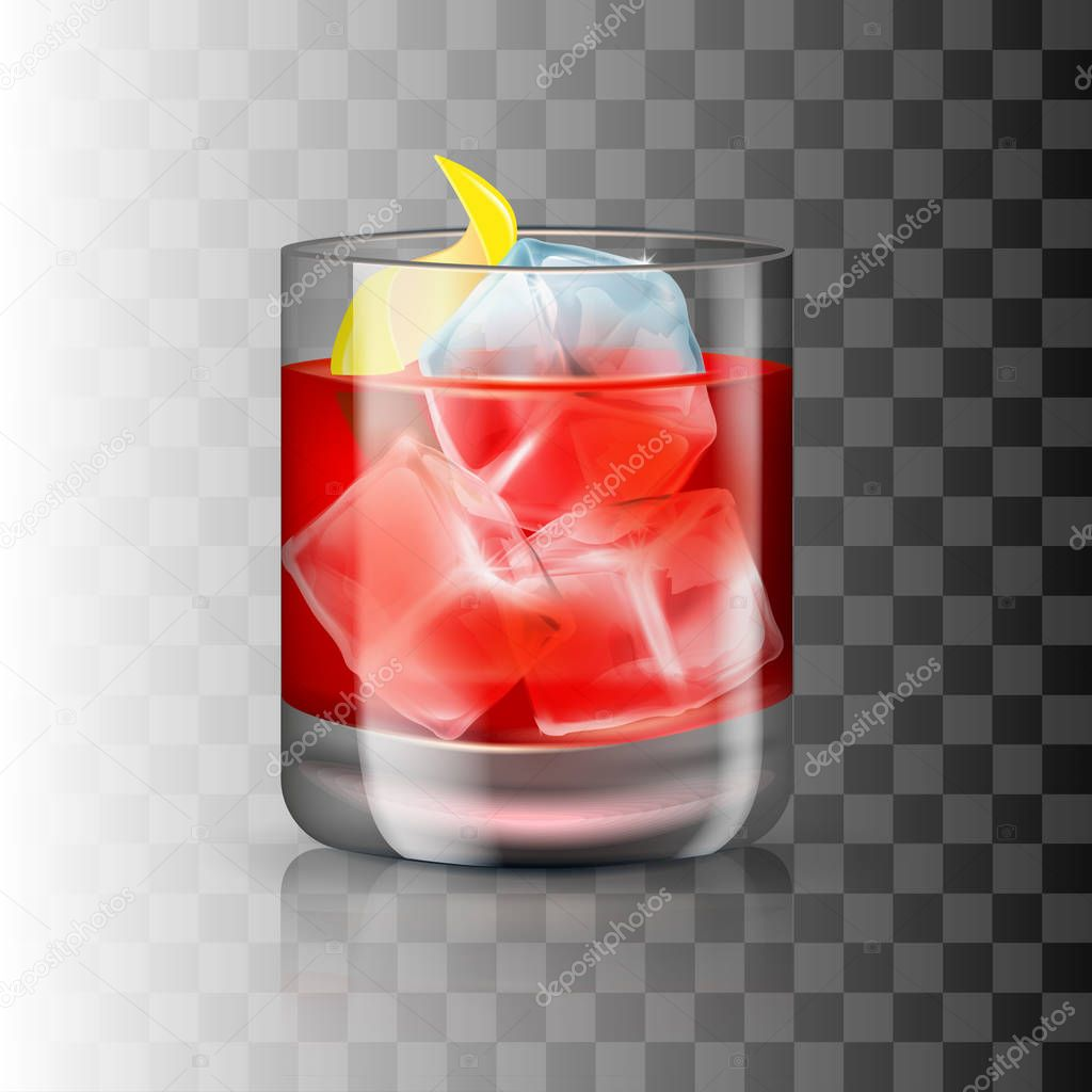 Glass of old-fashioned cocktail on the transparent background. Vector illustration of an alcoholic drink.
