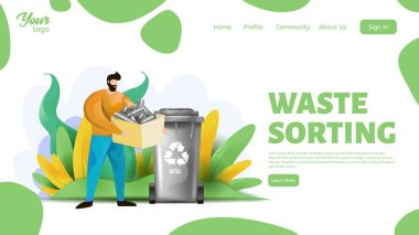 Man holding a box with metal wastes. Waste sorting landing page template. Metal waste sorting.