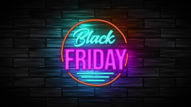 Černý pátek prodej neon znamení na cihlové zdi pozadí pro promo video.