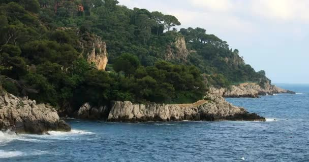 Nádherný panoramatický výhled na Středozemní moře a moře s kameny a borovic v destinaci Saint-Jean-Cap-Ferrat, Francouzská Riviéra, Francie, Evropa - 4 k videa