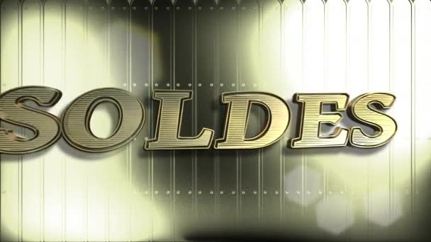 Soldes Gold Text : Sale Word In French, 3D Text Animation And Golden Background - 4K Resolution Ultra HD