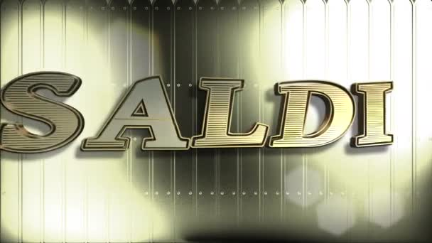 Saldi Gold Text : Sale Word In Italian, 3D Text Animation And Golden Background - 4K Resolution Ultra HD