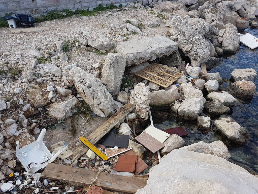 Pollution On Mediterranean Sea After The Storm, Garbage And Waste Washed Up On A Beach, French Riviera, Europe