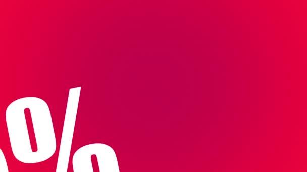 Verkauf 5% 90% Rabatt auf Word Cloud Looping Animation mit 13 Zahlen: 20, 30, 40, 50, 60, 70, 80, 90 roter Hintergrund - hd video