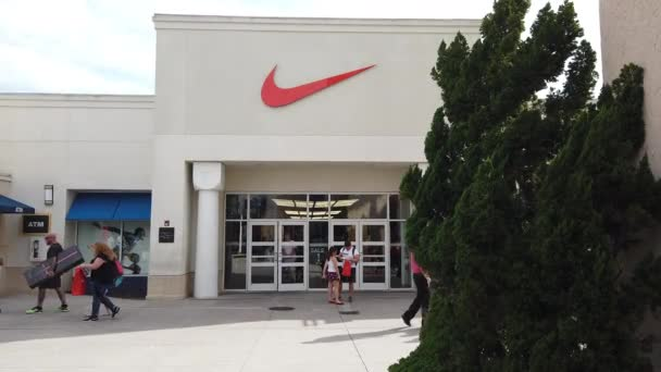 Orlando, Florida / USA, March 2, 2019: Nike Factory Store At Orlando Vineland Premium Outlets Shopping Mall, Vineland, Florida, United States - 4K Resolution