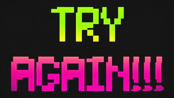 versuchen Sie es noch einmal mit 8-Bit-Retro-Videospieltext, alten Arcade-Games-Animationen, grünem und rosa Hintergrund - 4k-Auflösung Ultra-HD