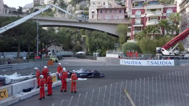 Monte-Carlo, Monaco - May 11, 2019 : Spectacular Crash Between Two Sports Cars, Formula E Electric Accident On Monaco E-Prix 2019, ABB FIA Formula E Championship - 3rd Monaco E-Prix 11 May 2019 - 4K Resolution